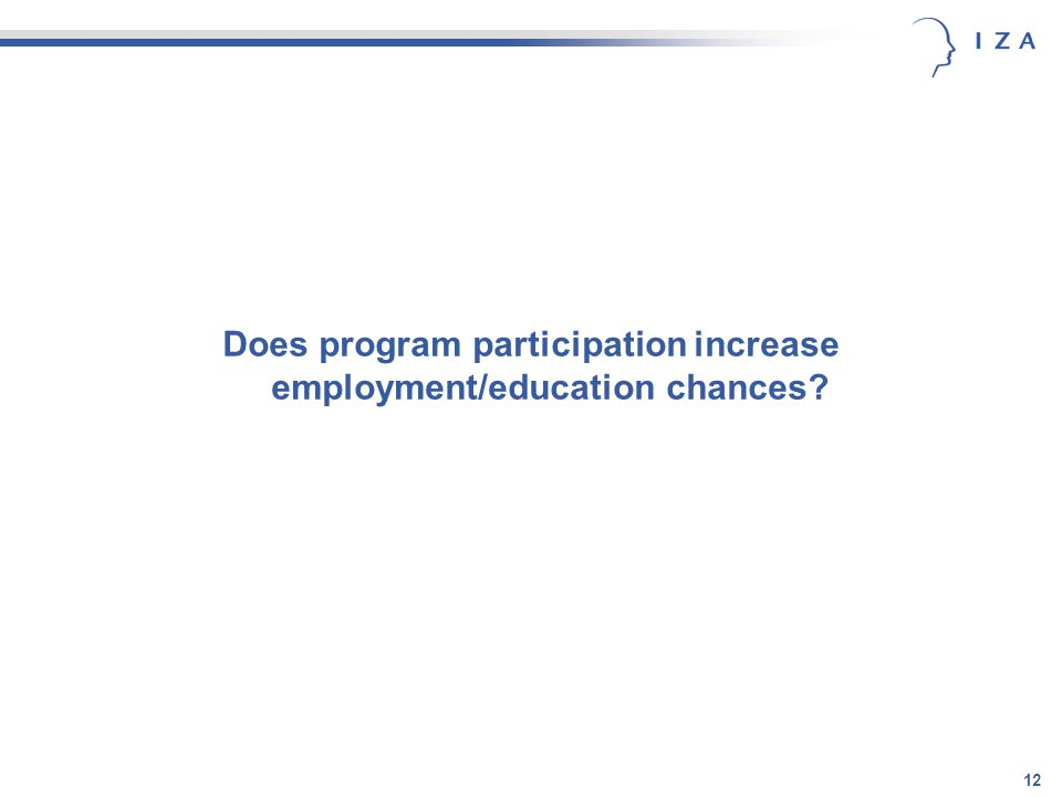 12 Does program participation increase employment/education chances