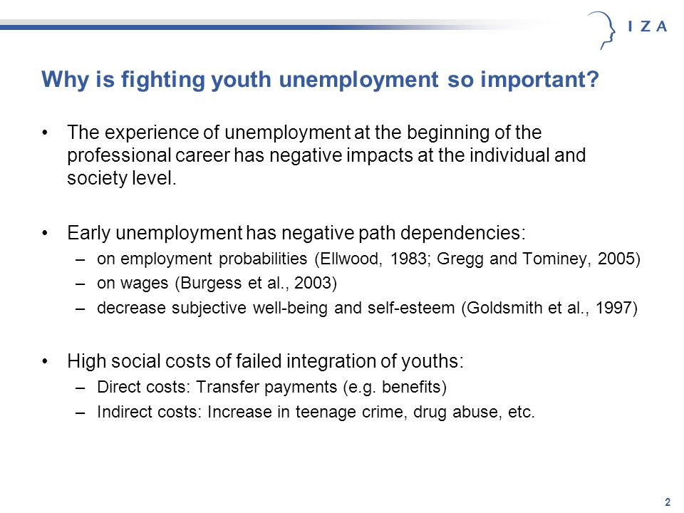 2 Why is fighting youth unemployment so important? The experience of unemployment at the beginning of the professional career has negative impacts at
