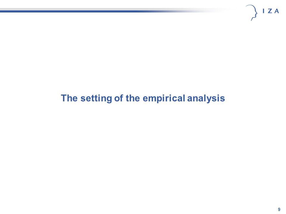 9 The setting of the empirical analysis