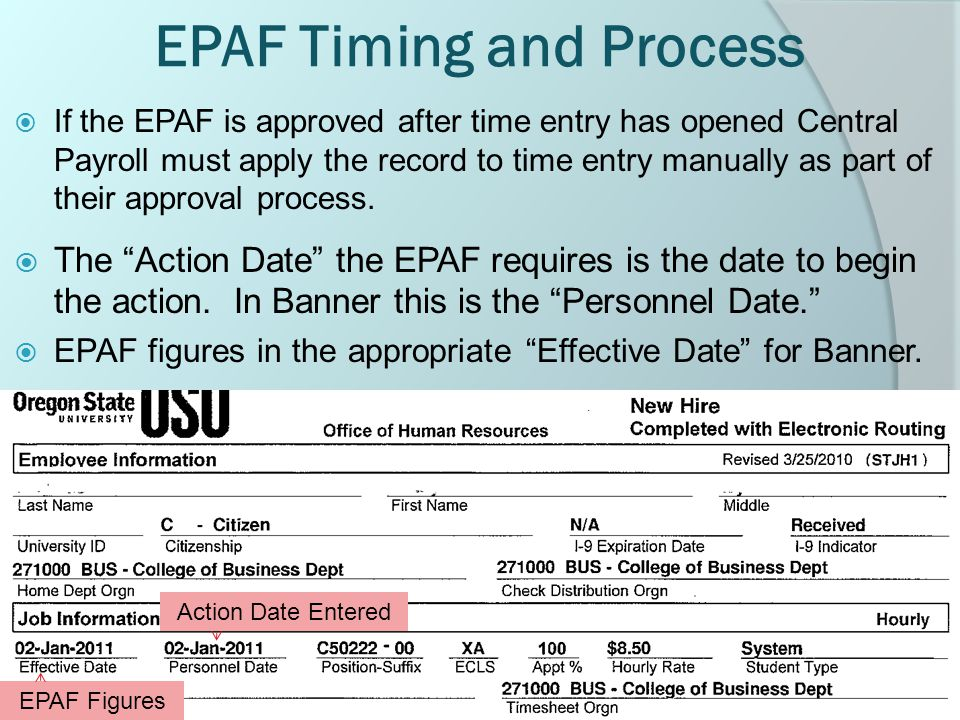 EPAF Timing and Process  If the EPAF is approved after time entry has opened Central Payroll must apply the record to time entry manually as part of their approval process.