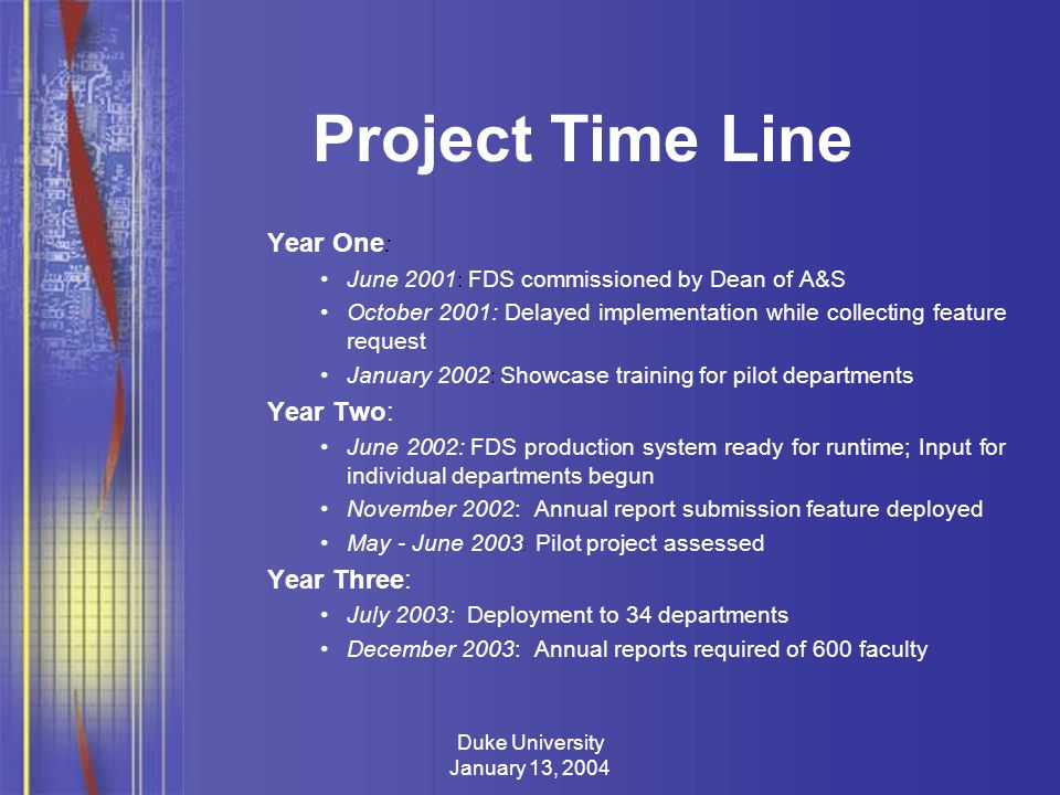 Duke University January 13, 2004 Project Time Line Year One : June 2001 : FDS commissioned by Dean of A&S October 2001: Delayed implementation while collecting feature request January 2002 : Showcase training for pilot departments Year Two: June 2002: FDS production system ready for runtime; Input for individual departments begun November 2002: Annual report submission feature deployed May - June 2003 : Pilot project assessed Year Three: July 2003: Deployment to 34 departments December 2003: Annual reports required of 600 faculty