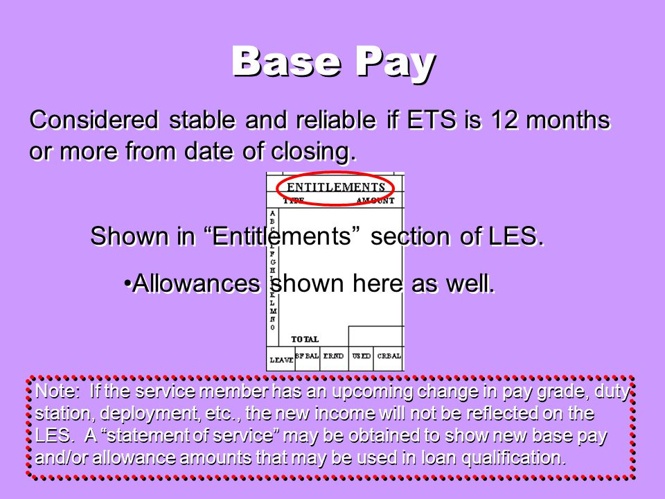 Base Pay Considered stable and reliable if ETS is 12 months or more from date of closing.