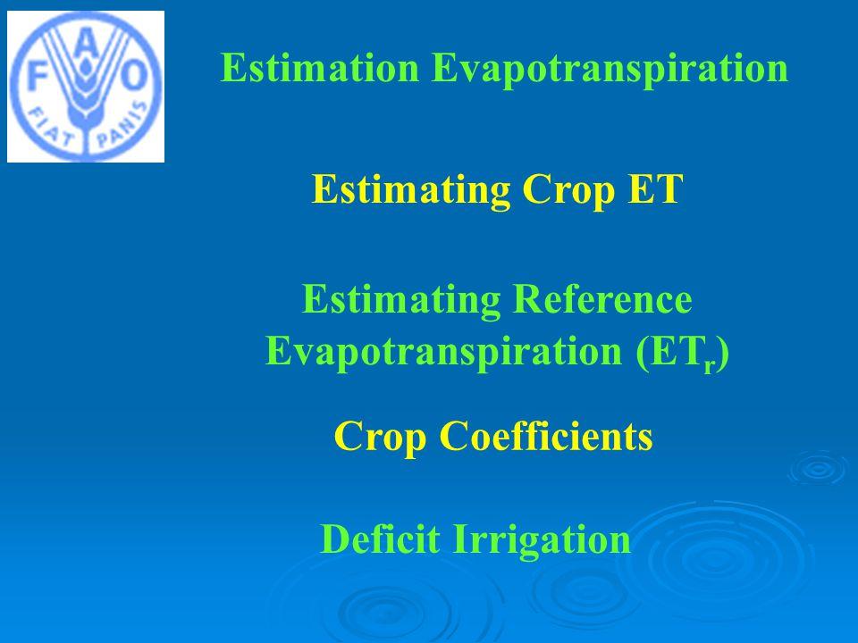 Estimation Evapotranspiration Estimating Crop ET Estimating Reference Evapotranspiration (ET r ) Crop Coefficients Deficit Irrigation