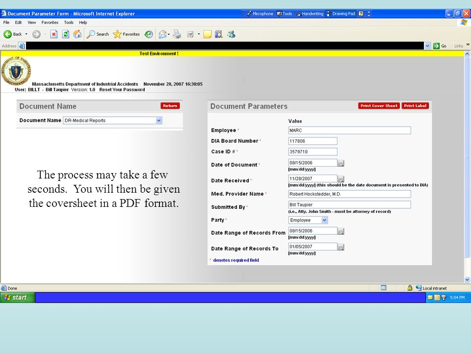 The process may take a few seconds. You will then be given the coversheet in a PDF format.