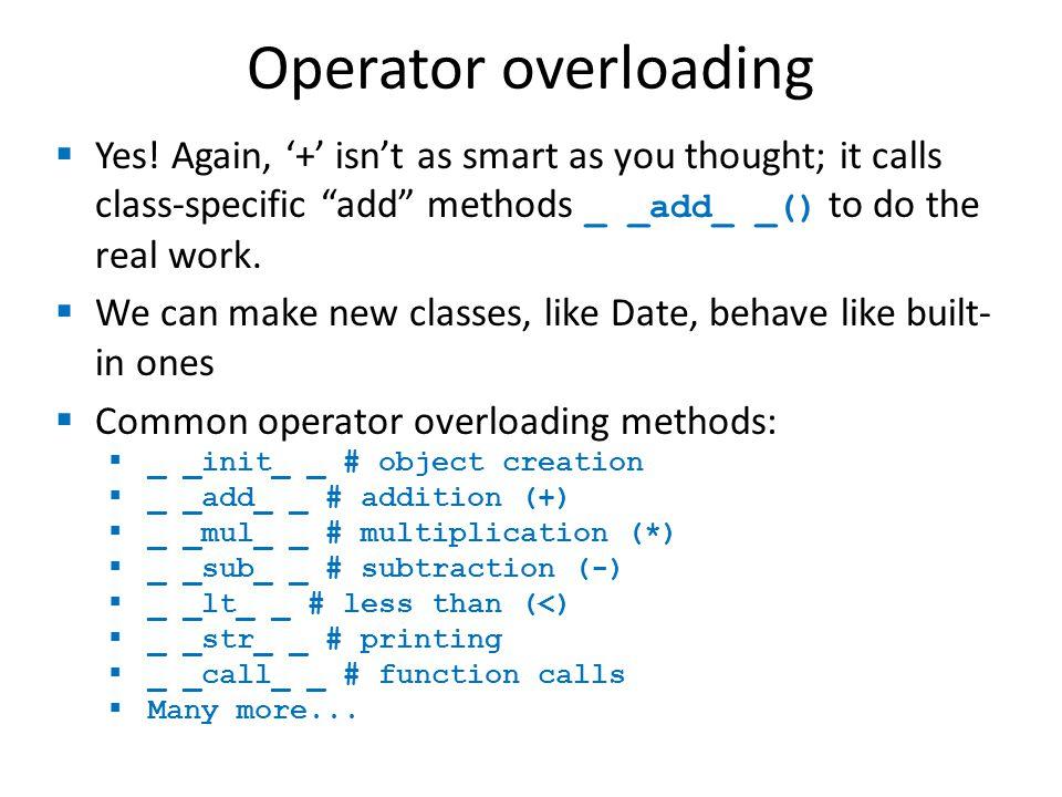 Operator overloading  Yes.