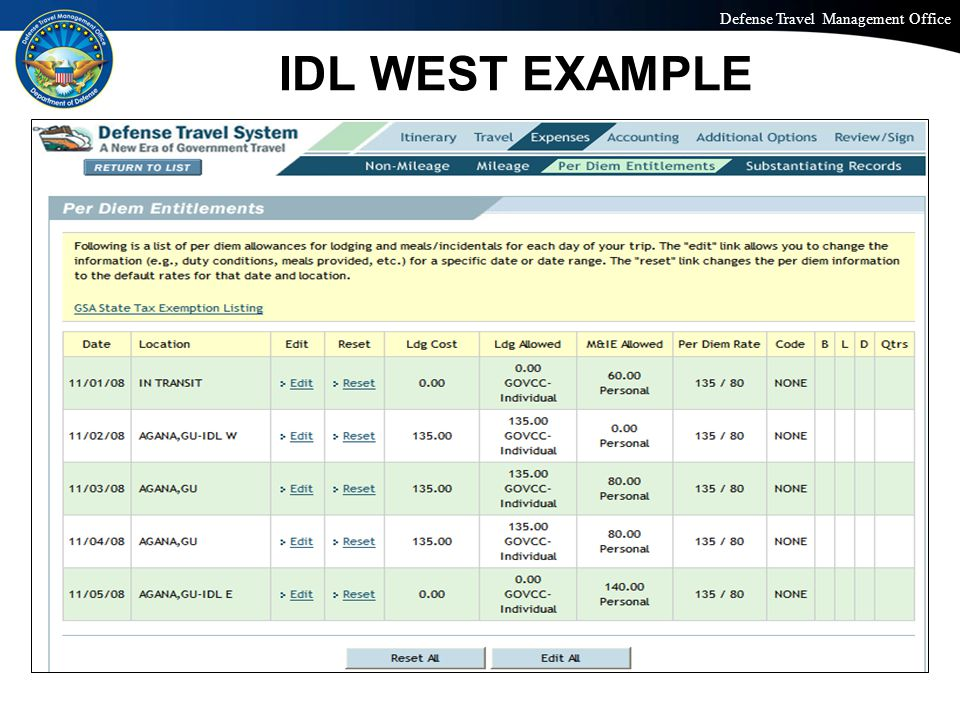 Defense Travel Management Office Office of the Under Secretary of Defense (Personnel and Readiness) IDL WEST EXAMPLE