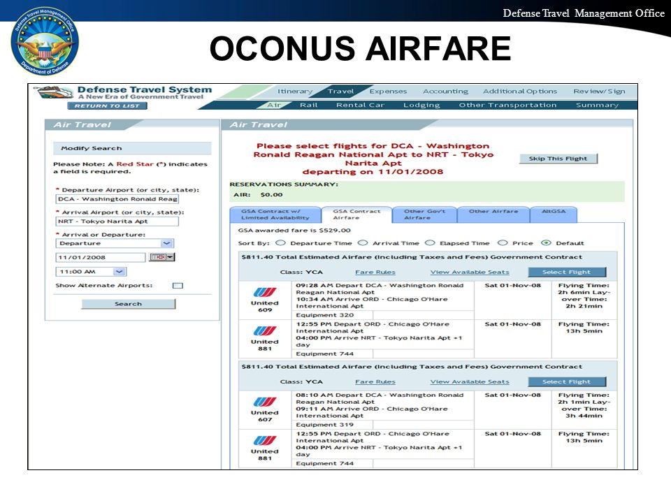 Defense Travel Management Office Office of the Under Secretary of Defense (Personnel and Readiness) OCONUS EXPENSES