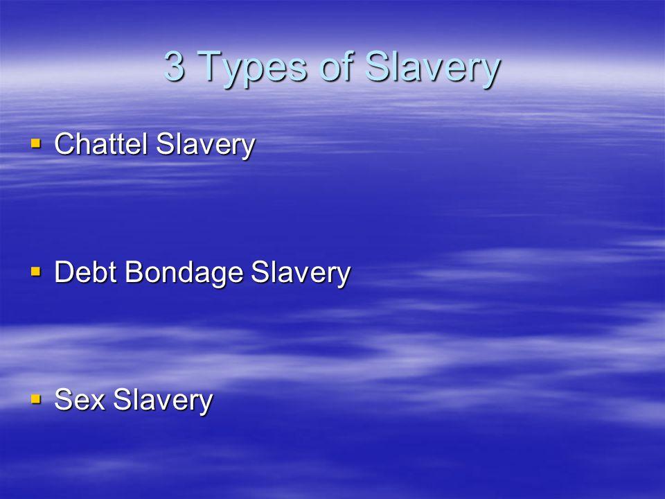 3 Types of Slavery  Chattel Slavery  Debt Bondage Slavery  Sex Slavery