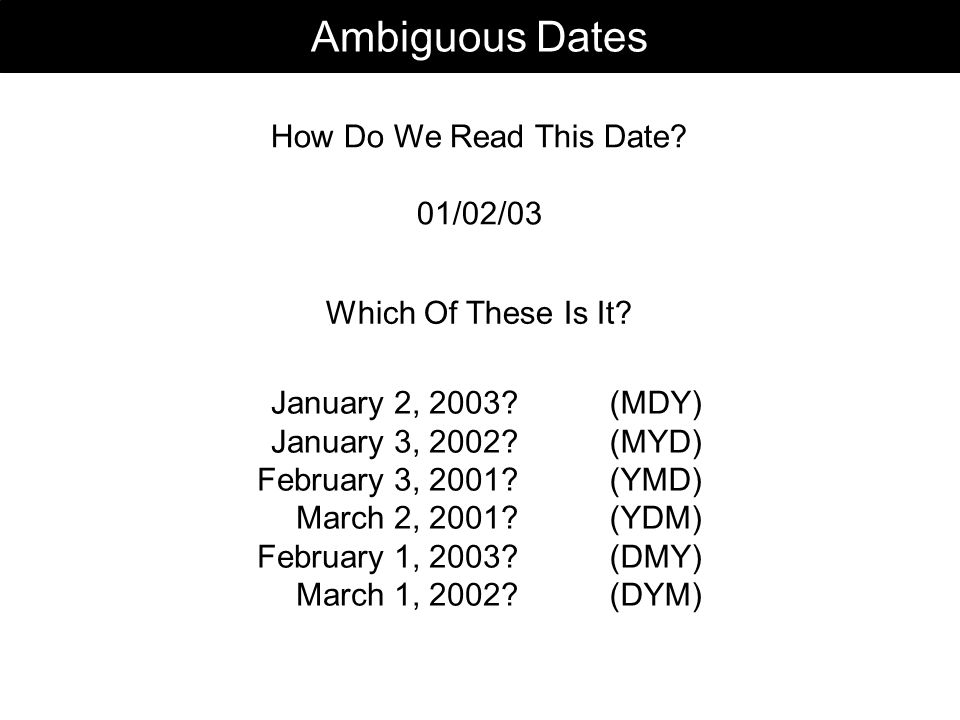 Ambiguous Dates How Do We Read This Date. 01/02/03 January 2, 2003.