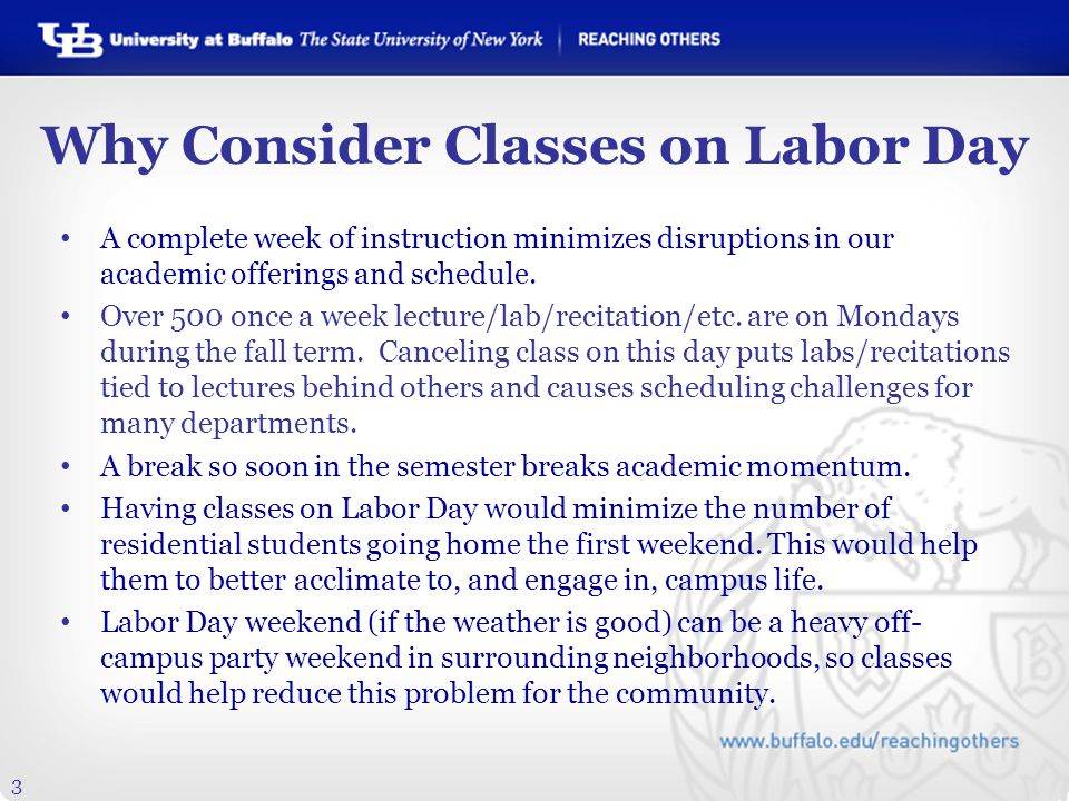 3 Why Consider Classes on Labor Day A complete week of instruction minimizes disruptions in our academic offerings and schedule.