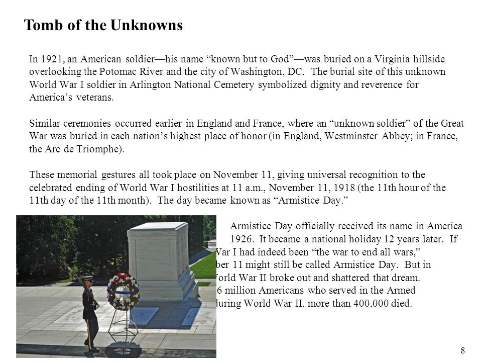 """In 1921, an American soldier—his name """"known but to God""""—was buried on a Virginia hillside overlooking the Potomac River and the city of Washington, D"""