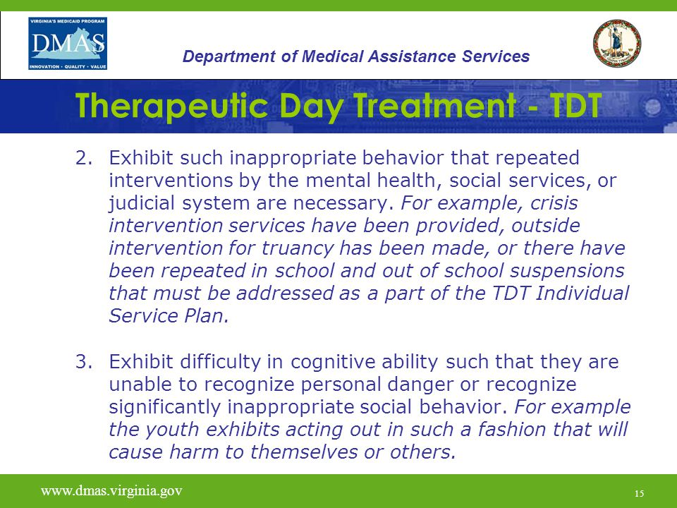 16 Therapeutic Day Treatment - TDT www.vita.virginia.gov www.dmas.virginia.gov 16 Department of Medical Assistance Services Out-Of-Home Defined: An out-of-home placement (at risk of) is defined as one or more of the following: Level A or Level B group home Level C residential facility Regular foster home (if currently residing with biological family and due to behavior problems is at risk of move to DSS custody)
