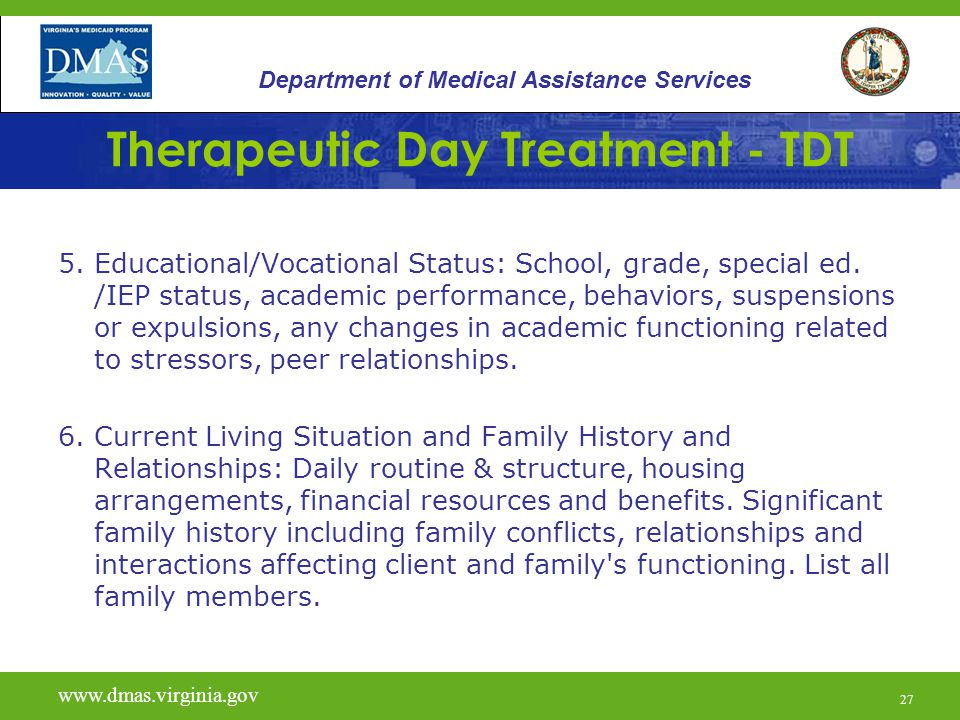 28 Therapeutic Day Treatment - TDT 7.Legal Status: Indicate individual s criminal justice status.