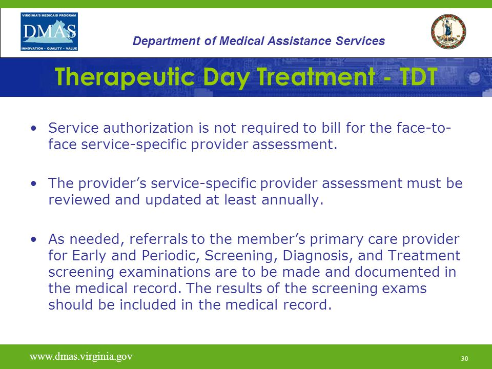31 Therapeutic Day Treatment - TDT A comprehensive Individual Service Plan (ISP) indicating all entities participating in treatment must be completed by at least a Qualified Mental Health Professional-C (Child) documenting the need for services within 30 days of service initiation.