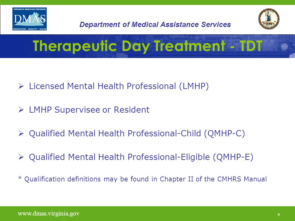 9 Therapeutic Day Treatment - TDT  Licensed Mental Health Professional (LMHP)  LMHP Supervisee or Resident  Qualified Mental Health Professional-Ch
