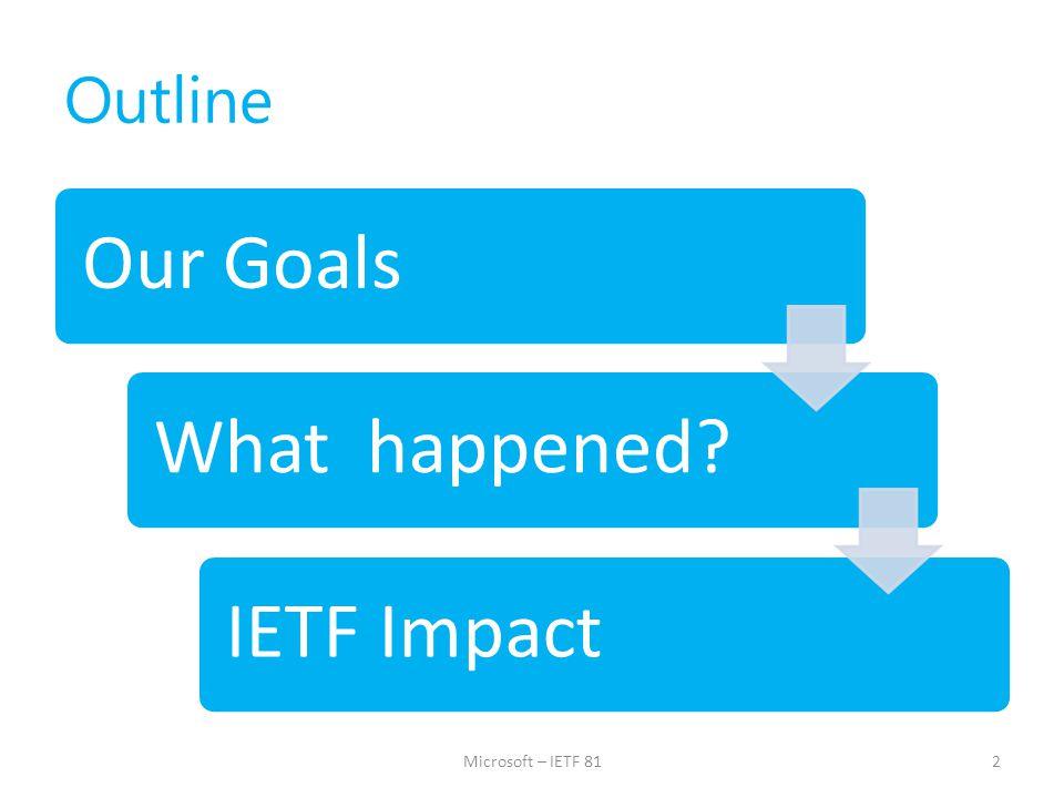 IETF Impact and Next Steps 13Microsoft – IETF 81
