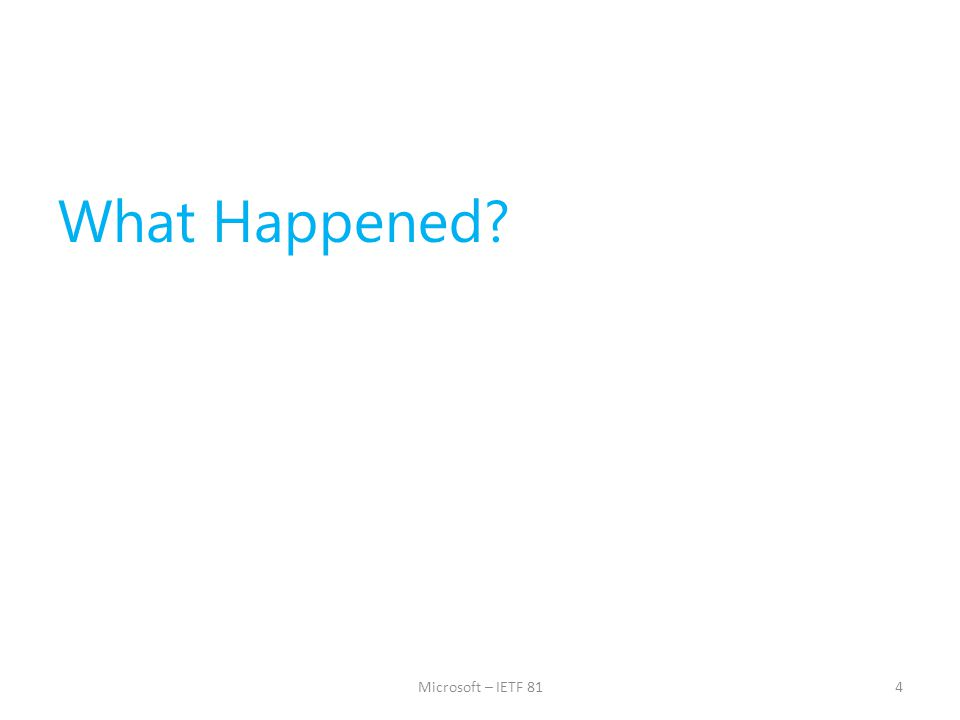 What Happened? 4Microsoft – IETF 81