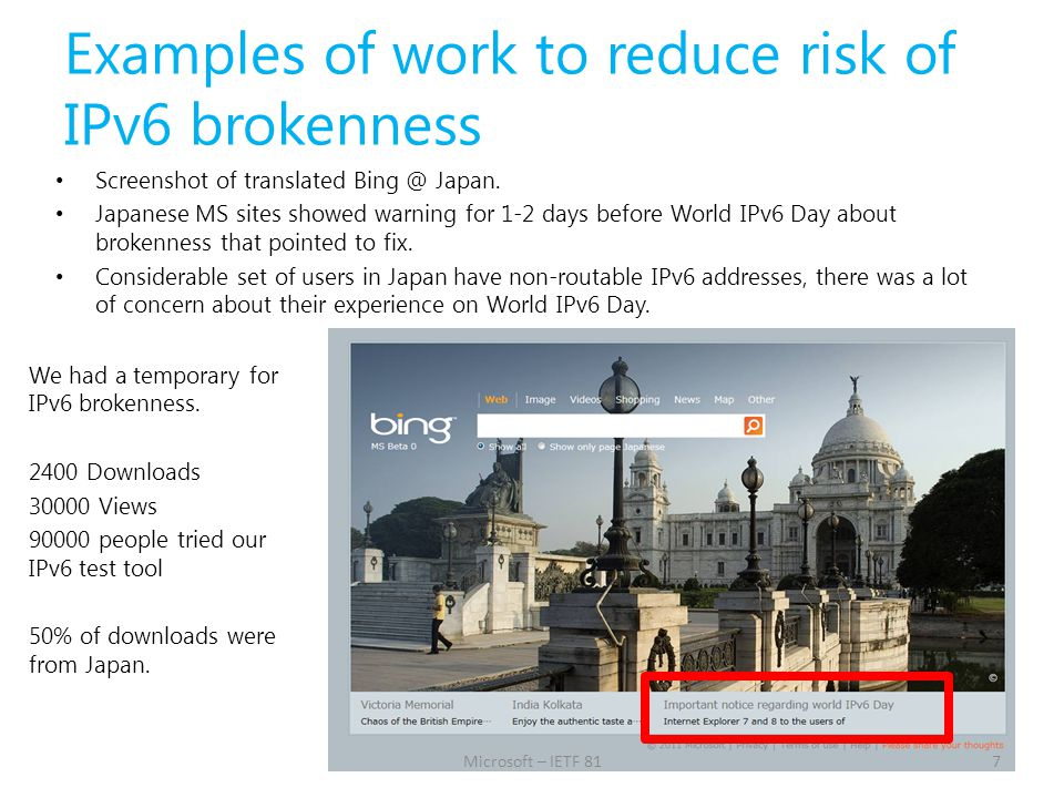 Examples of work to reduce risk of IPv6 brokenness Screenshot of translated Bing @ Japan. Japanese MS sites showed warning for 1-2 days before World I