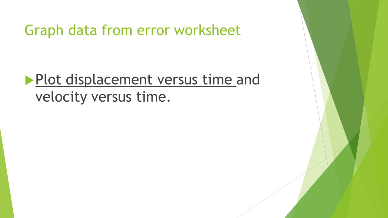 Graph data from error worksheet  Plot displacement versus time and velocity versus time.