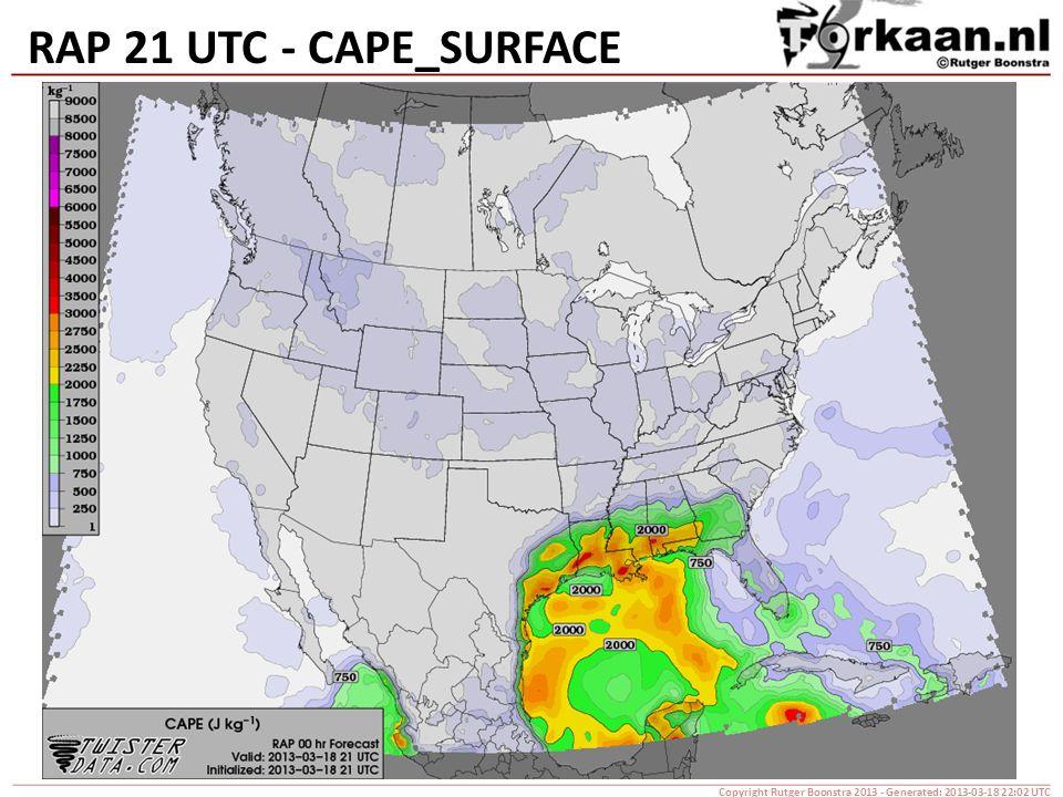 RAP 21 UTC - CAPE_SURFACE Copyright Rutger Boonstra 2013 - Generated: 2013-03-18 22:02 UTC