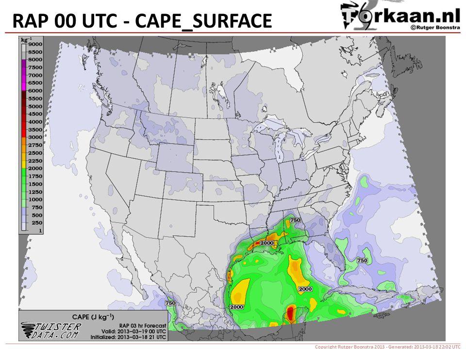 RAP 00 UTC - CAPE_SURFACE Copyright Rutger Boonstra 2013 - Generated: 2013-03-18 22:02 UTC