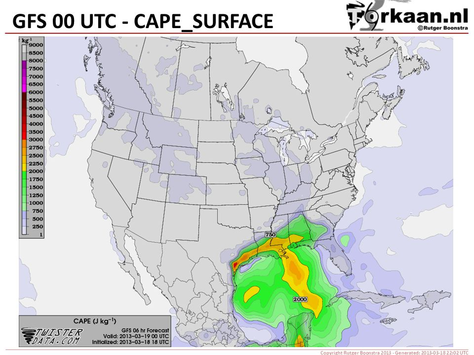 GFS 00 UTC - CAPE_SURFACE Copyright Rutger Boonstra 2013 - Generated: 2013-03-18 22:02 UTC