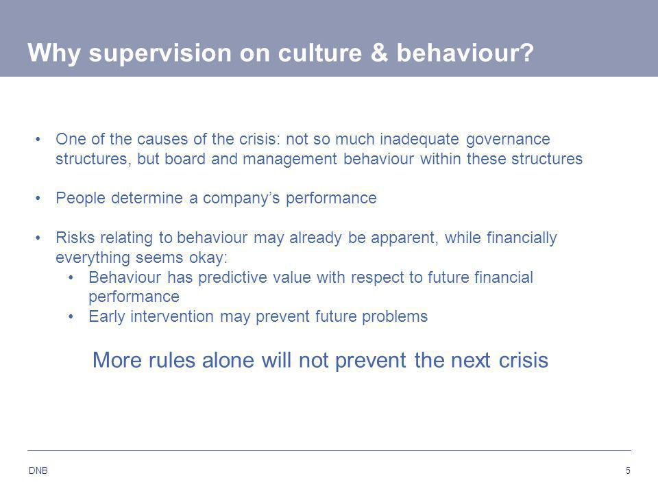 5 DNB One of the causes of the crisis: not so much inadequate governance structures, but board and management behaviour within these structures People determine a company's performance Risks relating to behaviour may already be apparent, while financially everything seems okay: Behaviour has predictive value with respect to future financial performance Early intervention may prevent future problems More rules alone will not prevent the next crisis Why supervision on culture & behaviour