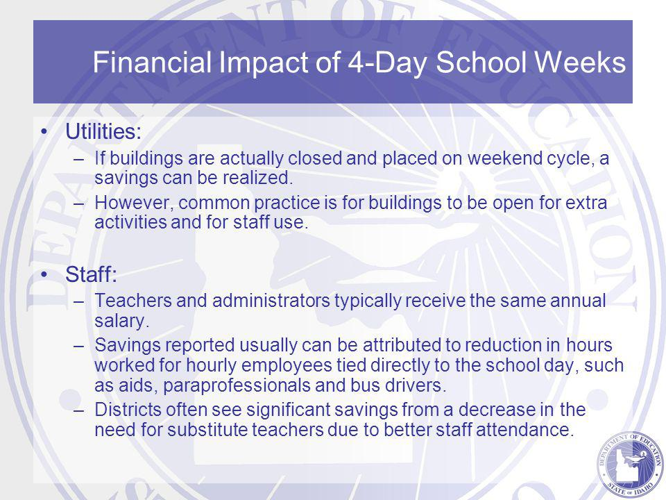 Financial Impact of 4-Day School Weeks Utilities: –If buildings are actually closed and placed on weekend cycle, a savings can be realized.