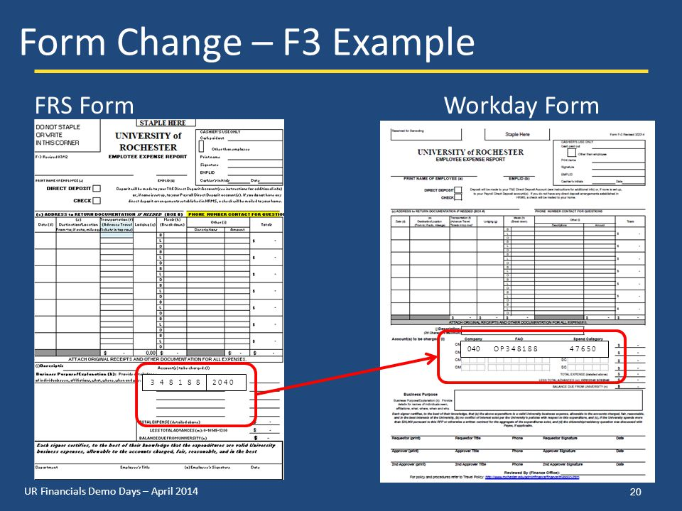 UR Financials Demo Days – April 2014 20 Form Change – F3 Example FRS FormWorkday Form 2 0 4 0 3 4 8 1 8 8 040 O P 3 4 8 1 8 8 4 7 6 5 0