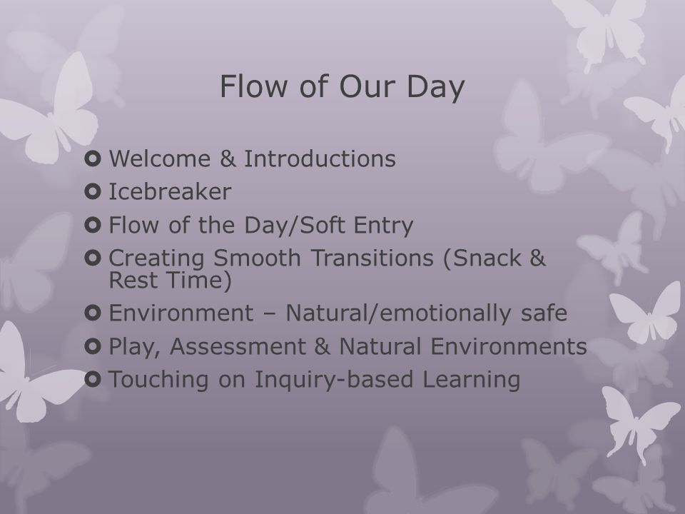 Flow of Our Day  Welcome & Introductions  Icebreaker  Flow of the Day/Soft Entry  Creating Smooth Transitions (Snack & Rest Time)  Environment –