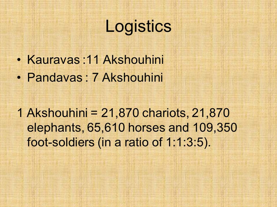 Logistics Kauravas :11 Akshouhini Pandavas : 7 Akshouhini 1 Akshouhini = 21,870 chariots, 21,870 elephants, 65,610 horses and 109,350 foot-soldiers (in a ratio of 1:1:3:5).
