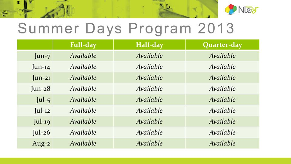 Summer Days Program 2013