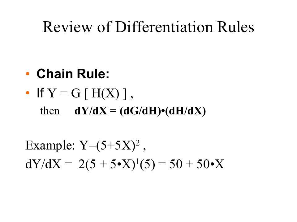 Chain Rule: If Y = G [ H(X) ], then dY/dX = (dG/dH)(dH/dX) Example: Y=(5+5X) 2, dY/dX = 2(5 + 5X) 1 (5) = 50 + 50X