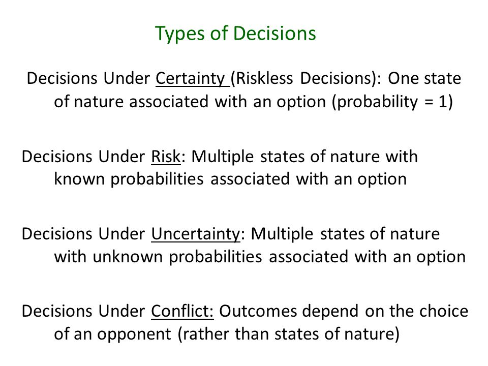 Decisions Under Certainty (Riskless Decisions): One state of nature associated with an option (probability = 1) Decisions Under Risk: Multiple states of nature with known probabilities associated with an option Decisions Under Uncertainty: Multiple states of nature with unknown probabilities associated with an option Decisions Under Conflict: Outcomes depend on the choice of an opponent (rather than states of nature) Types of Decisions