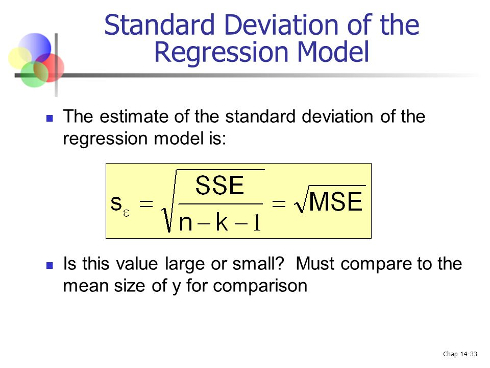 Chap 14-33 Standard Deviation of the Regression Model The estimate of the standard deviation of the regression model is: Is this value large or small?