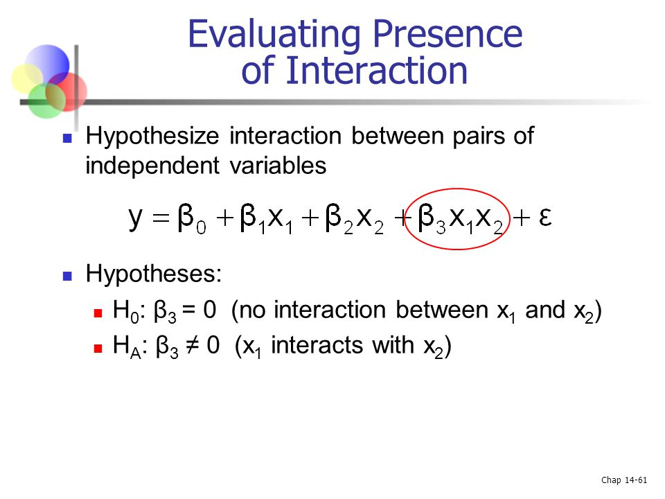 Chap 14-61 Hypothesize interaction between pairs of independent variables Hypotheses: H 0 : β 3 = 0 (no interaction between x 1 and x 2 ) H A : β 3 ≠