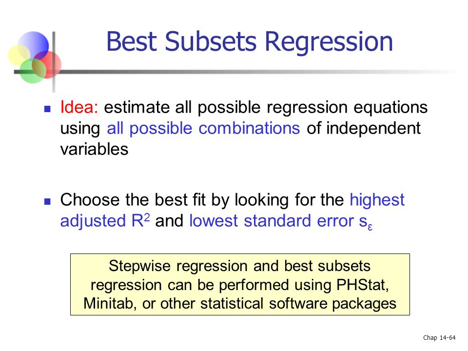 Chap 14-64 Best Subsets Regression Idea: estimate all possible regression equations using all possible combinations of independent variables Choose th