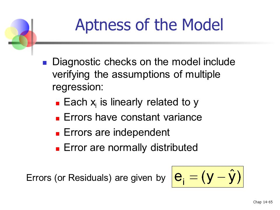 Chap 14-65 Aptness of the Model Diagnostic checks on the model include verifying the assumptions of multiple regression: Each x i is linearly related