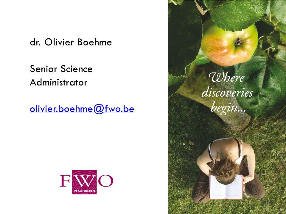 2 dr. Olivier Boehme Senior Science Administrator olivier.boehme@fwo.be
