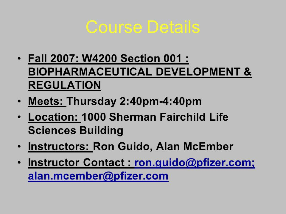 Course Details Class Modules (Subject to Change) History of Regulation (incl.