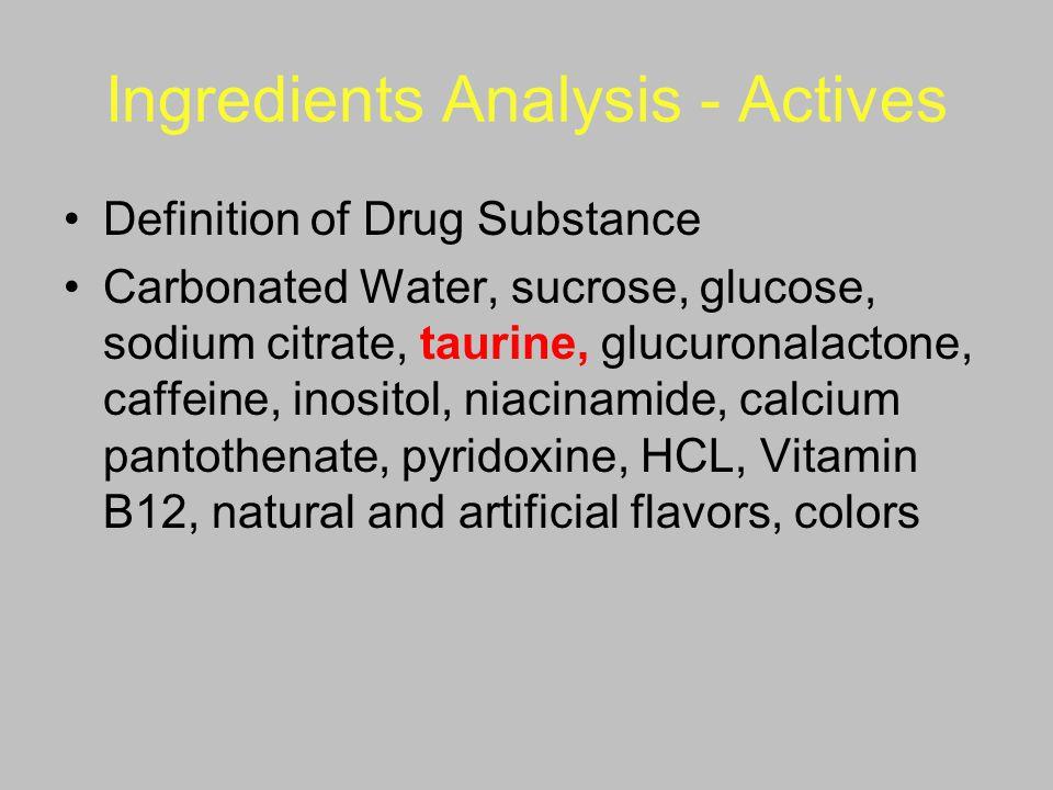 Ingredients Analysis - Actives Definition of Drug Substance Carbonated Water, sucrose, glucose, sodium citrate, taurine, glucuronalactone, caffeine, i