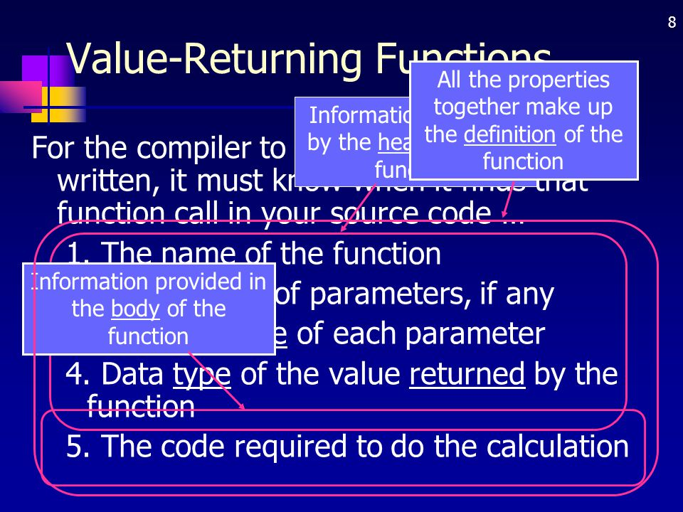 8 Value-Returning Functions For the compiler to use a function you have written, it must know when it finds that function call in your source code … 1
