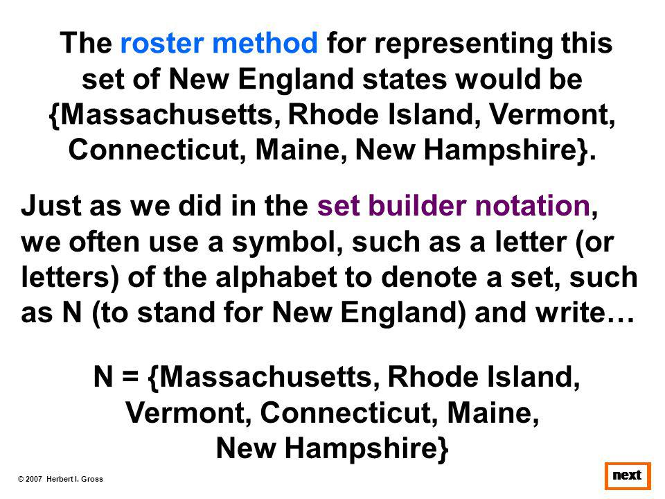 © 2007 Herbert I. Gross next The roster method for representing this set of New England states would be {Massachusetts, Rhode Island, Vermont, Connect