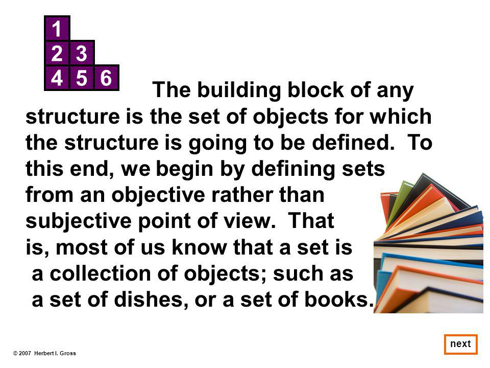 © 2007 Herbert I. Gross next 1 23 456 The building block of any structure is the set of objects for which the structure is going to be defined. To thi