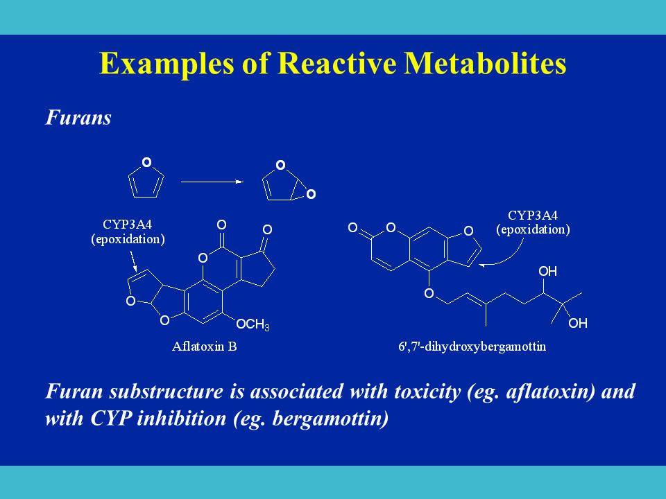 Examples of Reactive Metabolites Furans Furan substructure is associated with toxicity (eg. aflatoxin) and with CYP inhibition (eg. bergamottin)