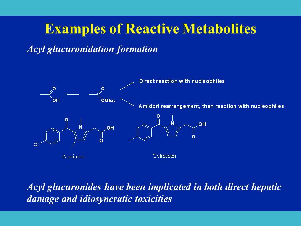 Examples of Reactive Metabolites Acyl glucuronidation formation Acyl glucuronides have been implicated in both direct hepatic damage and idiosyncratic