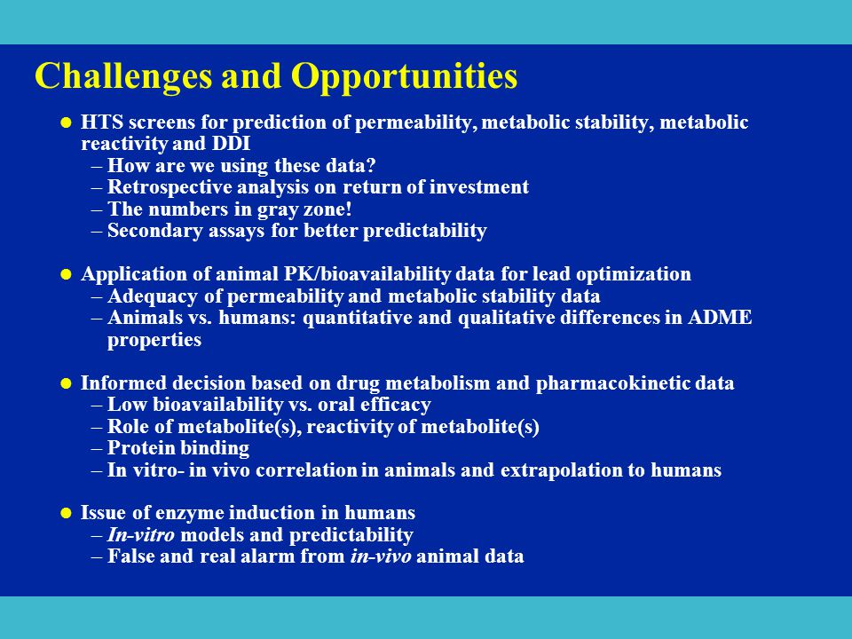 Challenges and Opportunities HTS screens for prediction of permeability, metabolic stability, metabolic reactivity and DDI –How are we using these dat