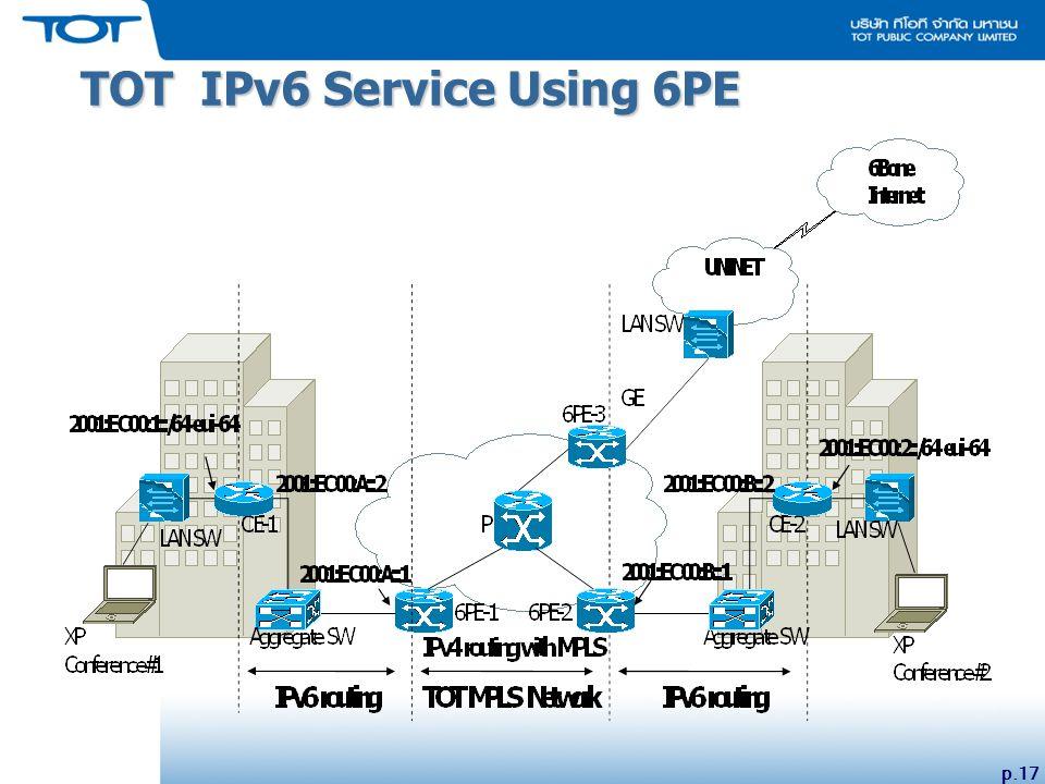 p.17 TOT IPv6 Service Using 6PE