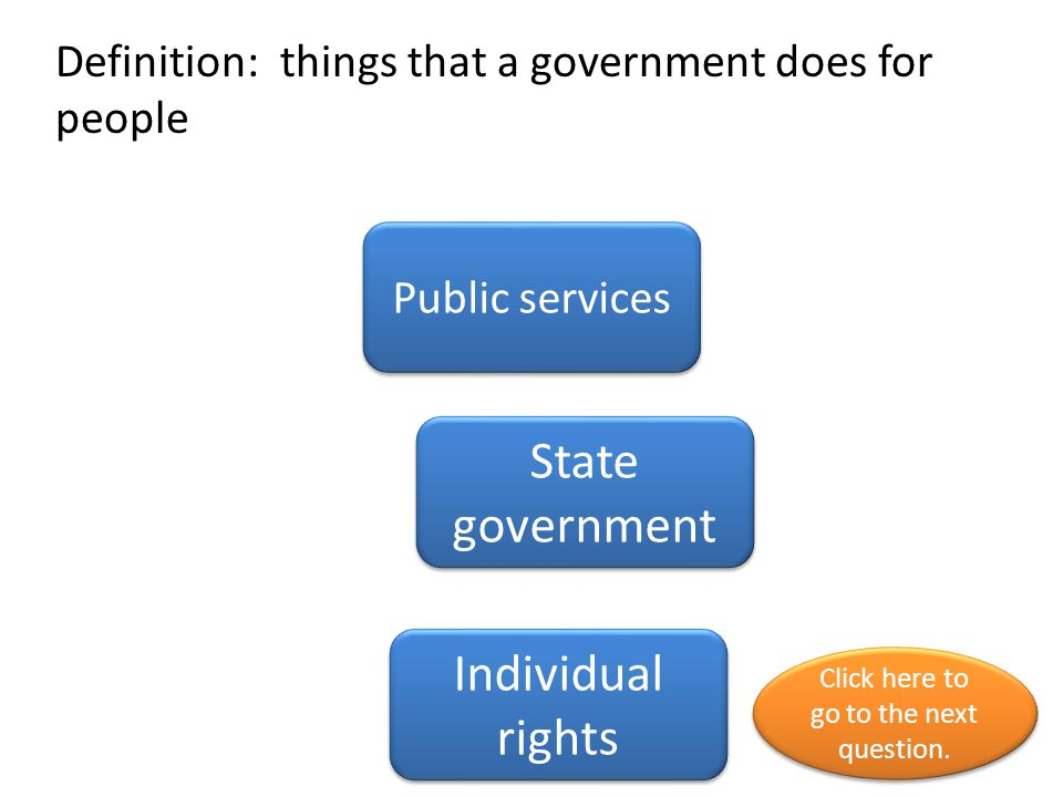 Definition: National state local governments Levels of governments National government Local government Click here to go to the next question.
