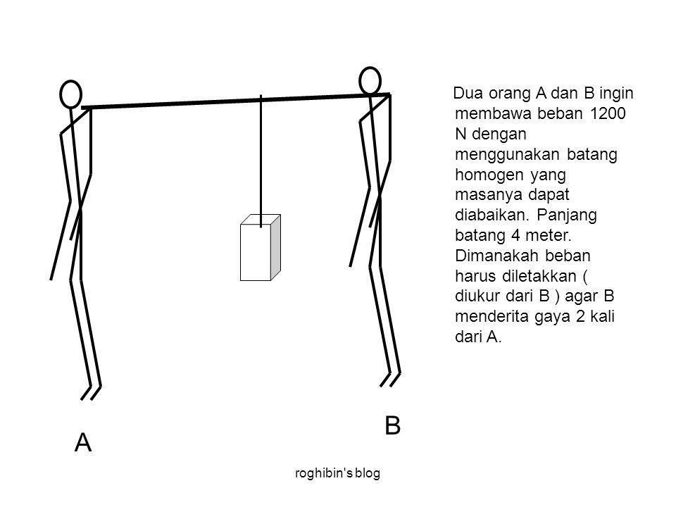 roghibin s blog Dua orang A dan B ingin membawa beban 1200 N dengan menggunakan batang homogen yang masanya dapat diabaikan.